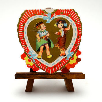 Vintage Valentine, Antique Valentine's Day Card, Heart Shaped Die Cut, Boy and Girl Playing Dress Up, 1920s-1930s