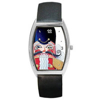 Christmas Nutcracker, Toy Soldier on a Barrel Watch w/ Leather Bands *