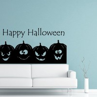 Wall Decals Happy Halloween Pumpkin Halloween Decal Vinyl Sticker Home Art Bedroom Home Decor Art Mutal Room Decor Wall Art Halloween Party Decor MS603
