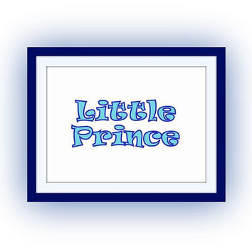 Little prince, Navy Blue Baby Boy, Nursery Printable Wall Art, home decor, room decal, baby boy room decals, boys print, poster decoration