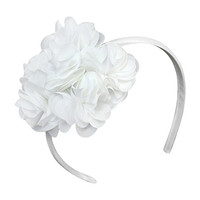 Cleo Headband Shabby Chic Chiffon Big Heart Love Girls Headband Fashion Hair Accessories (Off-White)
