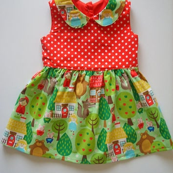 Girls dress, Woodlands, Little Red Riding Hood, Peter Pan, Special Occasion, Girls clothing, 100% cotton, girl, baby, toddler 6M - 10Y