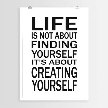 Life is about Creating Yourself Subway Art Design Typography Print. Quote Poster Inspirational. Motivational. Quote Print. Modern Home Decor