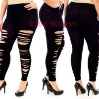 SeXY WoMeNS PLuS SiZe STReTCHY LeGGiNGS TiGHTS PaNTS GoTHiC CuTouT SHReDDeD 1-3X
