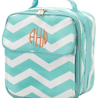 Personalized Aqua Chevron Lunch Bag by Cordial Lee
