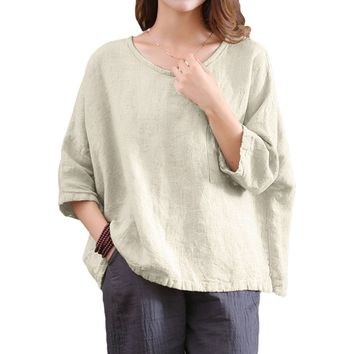 2018 Vintage Casual Loose O Neck Blouse Shirts Linen 3/4 Sleeve Women's Plus Size Tunic Tops Female Tee Shirts Camisas Mujer
