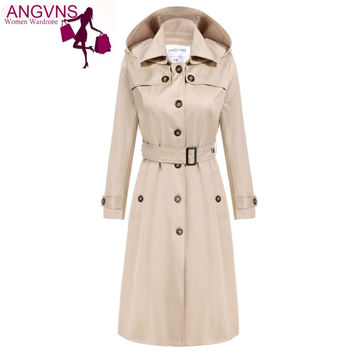ACEVOG Angvns Brand Maxi Long Trench Coat Women OL Ladies Long Sleeve Single Breasted Autumn Winter Trench Windbreaker Outerwear