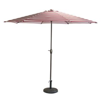 Outdoor Patio Market Umbrella 8 Ft. with Hand Crank and Tilt  Burgundy and White Stripe
