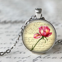 Pink rose LOVE LETTERS necklace lovely tiny flowers gift idea for women and girls OCTOBER trends