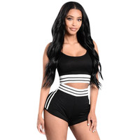Sexy Jumpsuit 2017 Women Summer Jumpsuits Rompers Bodycon Backless Sleeveless Two Pieces Outfits Crop Top Short Pants Overalls
