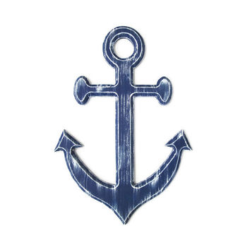 Navy Anchor Wall Decor distressed with white, rustic nautical wall hanging, shabby wooden anchor for chic beach decor