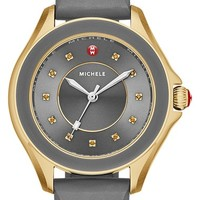Women's MICHELE 'Cape' Topaz Dial Silicone Strap Watch, 40mm - Grey/ Gold