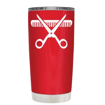 HairStylist Scissor and Comb Silhouette on Red 20 oz Tumbler Cup