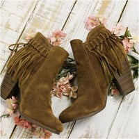 FRINGE BENEFITS fringe short boot - brown