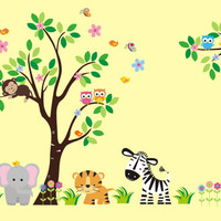 "Safari Wall Decals, Jungle Wall Decals, Animal Wall Decals, Safari Wall Art, Jungle Wall Art, Tree Wall Deals, Monkey Owl Decals - 83"" x 97"""