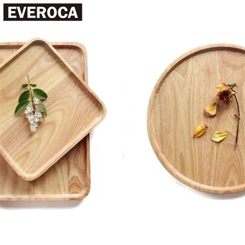 Natural Rubber Wood Fruit Plates Dried Wood Trays Snack Candy Cake Holder Wooden Storage Dishes Healthy Round Home Decoration