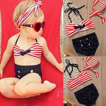 2017 Baby Girls Clothes Kids Tankini Swimming Suit Button Striped Bottoms Beachwear Swimsuit Swimwear Bathing Suit