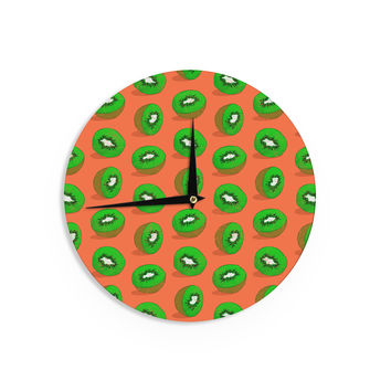 "Evgenia ""Kiwifruit"" Orange Green Wall Clock"