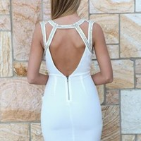 White Bodycon Dress with Gold Trim Embellishment