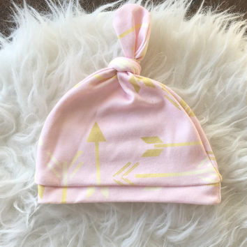 Pink  Gold Baby Hat/Pink Gold  Infant Hat/ Organic Pink Newborn Hat/Baby Girl Hat/ Newborn Hat/baby hat/infant hat