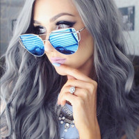 Silvia-Blue Mirrored Silver Frame Cat Eye Sunglasses