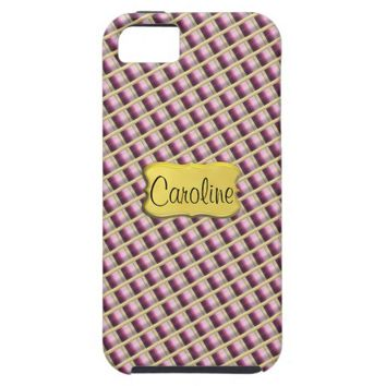 Purple Gold Quilted Diamond Pattern Personalised iPhone 5 Case   Zazzle.co.uk
