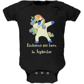 DCCKIS3 September Birthday Dabbing Unicorn Sunglasses Soft Baby One Piece