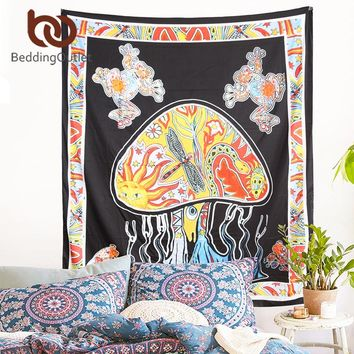 BeddingOutlet Mushroom Tapestry Indian Psychedelic Boho Tapestry Wall Hanging Carpet 145cmx200cm Soft Picnic Sheet Home Decor