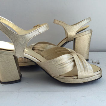 Gold Platform Sandals Disco Heels Shoes Open Toe Summer Qualicraft 5 B 6