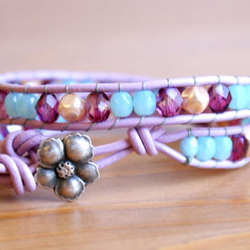 Violet Blue Pearl Beaded leather wrap bracelet, Bohemian wedding, boho chic, gift idea, silver flower, trendy jewelry, hipster