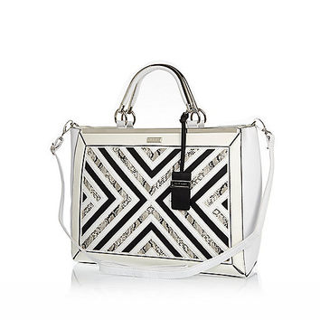 River Island Womens White smart detail tote bag