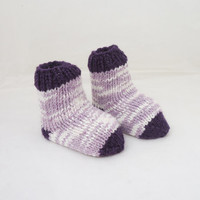 Hand knit Baby Socks, Baby socks in Lavander and Purple, 0-3 months, Warm Socks for Babies, UK Seller