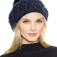 Knitted Bobble Beret in Navy
