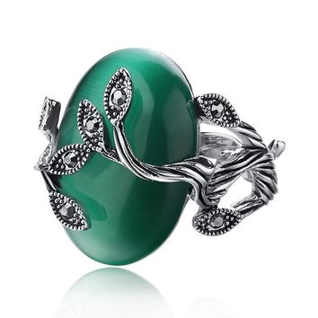 Green Opal Natural Stone Leaf Carved Women's Ring