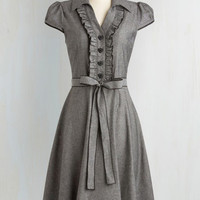 50s, Rockabilly, Vintage Inspired, Scholastic Long Cap Sleeves A-line About the Artist Dress in Grey by ModCloth
