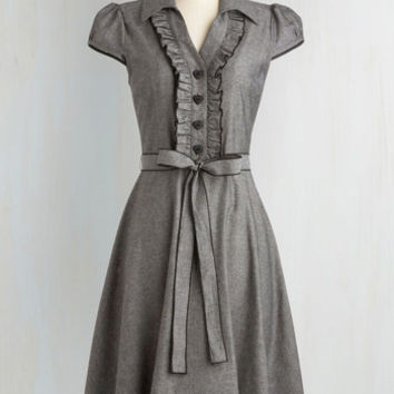 50s, Rockabilly, Vintage Inspired, Scholastic Long Cap Sleeves A-line About the Artist Dress in Grey