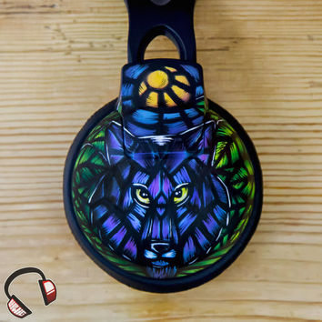 Stained glass wolf handpainted headphones
