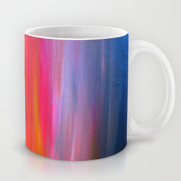 BRIGHT HORIZONS Bold Colorful Rainbow Pink Yellow Blue Abstract Painting Sunrise Sunset Stripes  Mug by EbiEmporium
