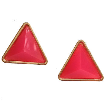 Neon Pink Triangle Stud Earrings