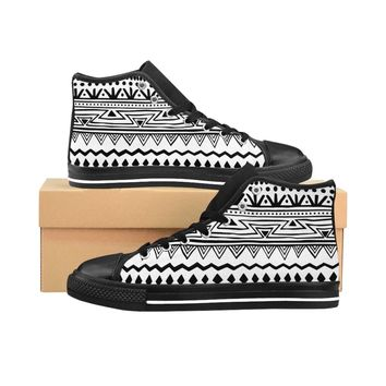 Women's Black/White African tribal High-top Sneakers