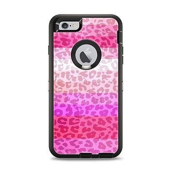 The Hot Pink Striped Cheetah Print Apple iPhone 6 Plus Otterbox Defender Case Skin Set