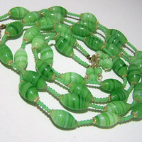 Green Art Glass Bead Necklace, Swirled Marbled Japan Beads, Multi Strand, Mid Century Jewelry 118