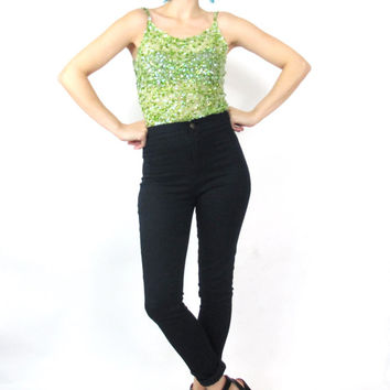 90s Sequin Tank Top Sheer Mesh Lime Green Crop Top New Years Eve Party Top Spaghetti Straps Sparkly Club Kid Raver Sequin Tank Top (XS/S)
