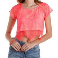 Neon Coral Neon Scalloped Lace Crop Top by Charlotte Russe