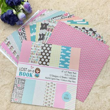 24 Sheets Scrapbooking Pads Paper Origami Background Paper Card Making DIY Paper Craft  01