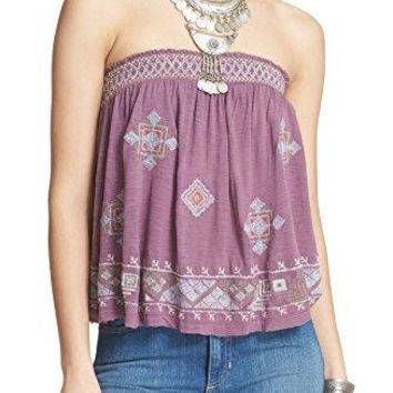 Free People Womens Embroidered Boho Tube Top
