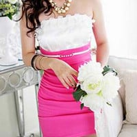 Pink and White Strapless Flounce Dress
