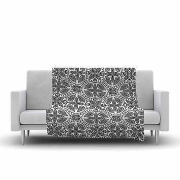 "Nandita Singh ""Boho In Black And White"" Grey Pattern Fleece Throw Blanket"