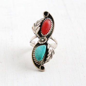 Vintage Sterling Silver Double Turquoise & Coral Ring- Retro Size 7 Southwestern Native American Style Floral Chunky Leaf Jewelry