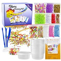 OPount 15 Pack Slime Making Kit Including Fishbowl Beads, Foam Balls, Slime Storage Containers, Confetti, Fruit Slices, Slime Tools, Wooden Spoon and Instructions for Slime Making Art DIY Craft